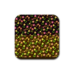 Flowers Roses Floral Flowery Rubber Square Coaster (4 Pack)
