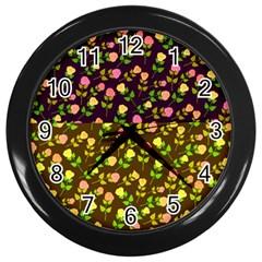 Flowers Roses Floral Flowery Wall Clocks (black)
