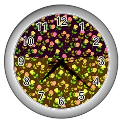 Flowers Roses Floral Flowery Wall Clocks (Silver)