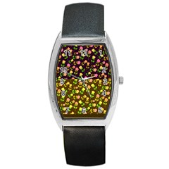 Flowers Roses Floral Flowery Barrel Style Metal Watch