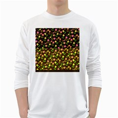 Flowers Roses Floral Flowery White Long Sleeve T-Shirts