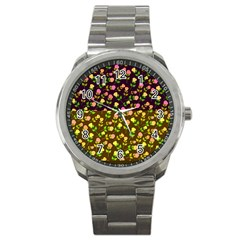 Flowers Roses Floral Flowery Sport Metal Watch