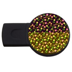 Flowers Roses Floral Flowery USB Flash Drive Round (4 GB)