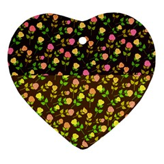 Flowers Roses Floral Flowery Heart Ornament (Two Sides)