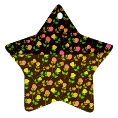 Flowers Roses Floral Flowery Star Ornament (two Sides)