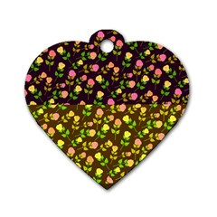 Flowers Roses Floral Flowery Dog Tag Heart (two Sides)