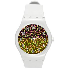 Flowers Roses Floral Flowery Round Plastic Sport Watch (m)