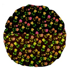 Flowers Roses Floral Flowery Large 18  Premium Round Cushions