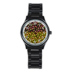 Flowers Roses Floral Flowery Stainless Steel Round Watch