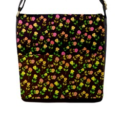 Flowers Roses Floral Flowery Flap Messenger Bag (l)