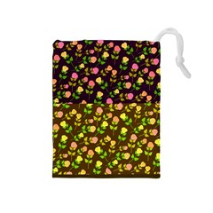 Flowers Roses Floral Flowery Drawstring Pouches (Medium)