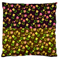 Flowers Roses Floral Flowery Large Flano Cushion Case (one Side)
