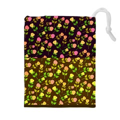 Flowers Roses Floral Flowery Drawstring Pouches (Extra Large)
