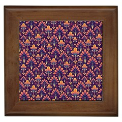 Abstract Background Floral Pattern Framed Tiles
