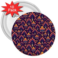 Abstract Background Floral Pattern 3  Buttons (10 pack)