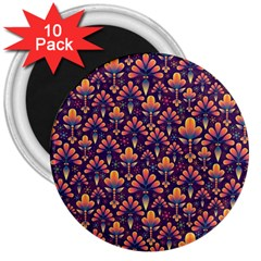 Abstract Background Floral Pattern 3  Magnets (10 Pack)