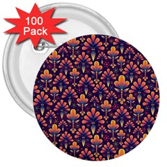 Abstract Background Floral Pattern 3  Buttons (100 Pack)