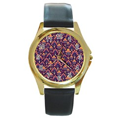 Abstract Background Floral Pattern Round Gold Metal Watch