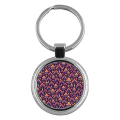 Abstract Background Floral Pattern Key Chains (Round)