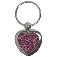 Abstract Background Floral Pattern Key Chains (heart)