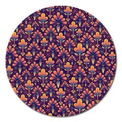 Abstract Background Floral Pattern Magnet 5  (Round)