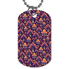 Abstract Background Floral Pattern Dog Tag (one Side)