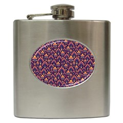 Abstract Background Floral Pattern Hip Flask (6 Oz)