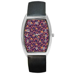 Abstract Background Floral Pattern Barrel Style Metal Watch