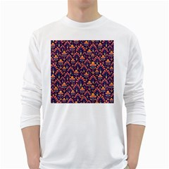 Abstract Background Floral Pattern White Long Sleeve T Shirts