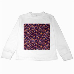 Abstract Background Floral Pattern Kids Long Sleeve T-Shirts