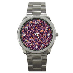 Abstract Background Floral Pattern Sport Metal Watch