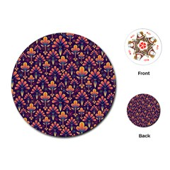 Abstract Background Floral Pattern Playing Cards (round)