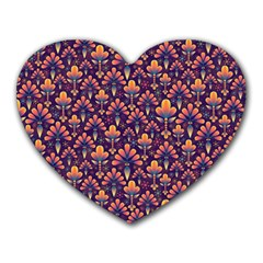 Abstract Background Floral Pattern Heart Mousepads
