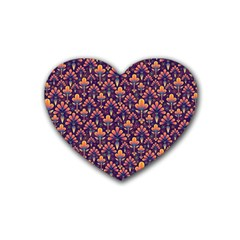 Abstract Background Floral Pattern Heart Coaster (4 Pack)
