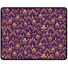 Abstract Background Floral Pattern Fleece Blanket (Medium)