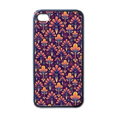 Abstract Background Floral Pattern Apple Iphone 4 Case (black)
