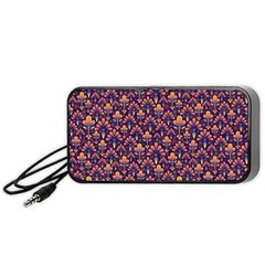 Abstract Background Floral Pattern Portable Speaker (black)