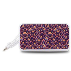 Abstract Background Floral Pattern Portable Speaker (white)