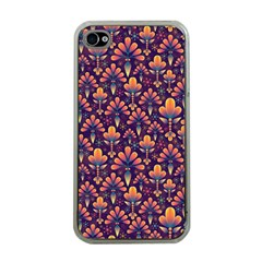 Abstract Background Floral Pattern Apple Iphone 4 Case (clear)