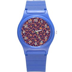 Abstract Background Floral Pattern Round Plastic Sport Watch (S)