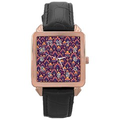 Abstract Background Floral Pattern Rose Gold Leather Watch