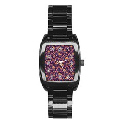 Abstract Background Floral Pattern Stainless Steel Barrel Watch