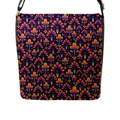 Abstract Background Floral Pattern Flap Messenger Bag (L)