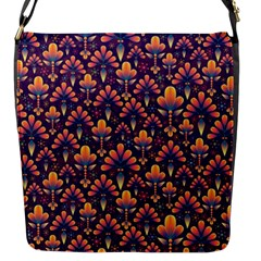 Abstract Background Floral Pattern Flap Messenger Bag (S)