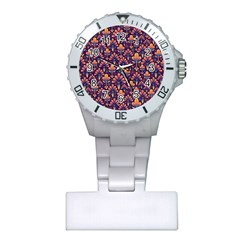 Abstract Background Floral Pattern Plastic Nurses Watch