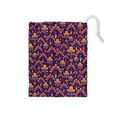 Abstract Background Floral Pattern Drawstring Pouches (Medium)
