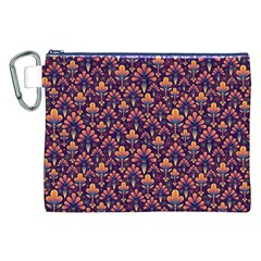 Abstract Background Floral Pattern Canvas Cosmetic Bag (XXL)