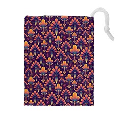 Abstract Background Floral Pattern Drawstring Pouches (extra Large)