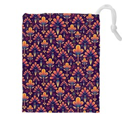 Abstract Background Floral Pattern Drawstring Pouches (xxl)