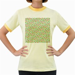 Flowers Roses Floral Flowery Women s Fitted Ringer T Shirts